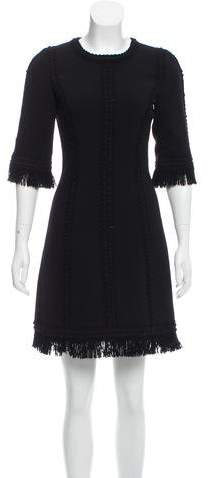 Andrew Gn Fringe Trimmed Wool Dress