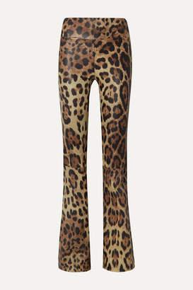 Sprwmn Leopard-print Leather Flared Pants - Leopard print