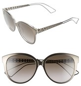 Christian Dior Women's 56Mm Cat Eye Sunglasses - Grey Crystal/ Brown