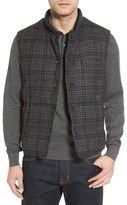 Luciano Barbera Channel Quilted Glen Plaid Wool Blend Vest