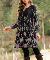 Reborn Collection Women's Casual Dresses Black - Black Abstract Smock-Sleeve Split-Neck Dress - Women & Plus