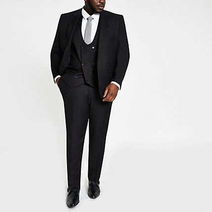 River Island Big and Tall black suit trousers