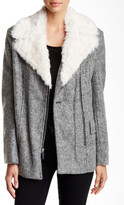 Kenneth Cole New York Moto Faux Fur Trim Coat
