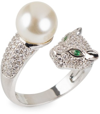 Cz By Kenneth Jay Lane Look Of Real Silvertone, Glass Pearl & Cubic Zirconia Panther Wrap Ring