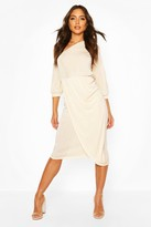 boohoo Textured Slinky Rouched One Shoulder Midi