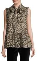 Kate Spade Leopard Clipped Dot Blouse