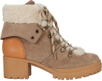 See by Chloe Shearling Lace-Up Hiker Booties