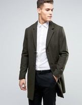 Pull&bear Wool Overcoat In Khaki