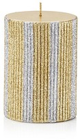 Bloomingdale's Gold and Silver Stripe Pillar Candle