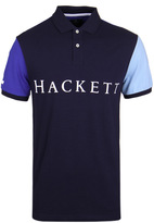 Hackett Multi Navy Colour Block Short Sleeve Polo Shirt