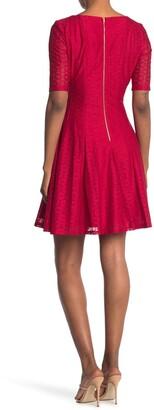 Gabby Skye Elbow Sleeve Lace Seam Dress