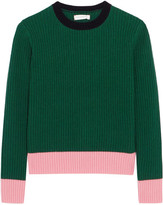 Chinti and Parker Color-block Ribbed Wool And Cashmere-blend Sweater - Green