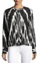 Theory Isalva Ikat-Print Long-Sleeve Silk Blouse