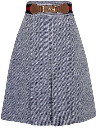 Gucci Pleated boucle midi skirt