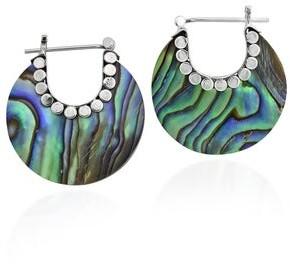 Aeravida Handmade Vibrant Bali Style Crescent Moon Hoop Lock Sterling Silver Earrings