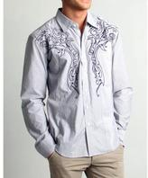 191 Unlimited Men's Slim Fit Grey Embroidered Woven Shirt