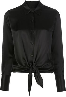 Nili Lotan Janet Front-tie Blouse Black