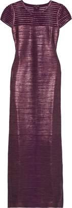 Herve Leger Tulle-paneled Metallic Coated Bandage Gown