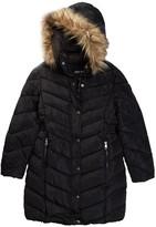 Steve Madden Faux Fur Hood Long Heavy Weight Bubble Jacket (Big Girls)