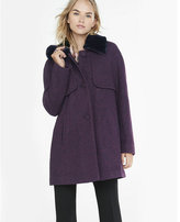 Express Berry Tweed Coat With Faux Fur Collar