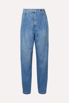 Tibi Pleated High-rise Straight-leg Jeans - Mid denim