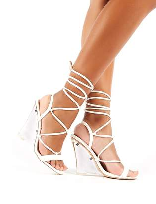 Public Desire Carnival PU Lace Up Perspex Wedge Heels
