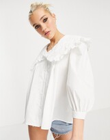 Thumbnail for your product : New Look cutwork embroidered collar shirt in white