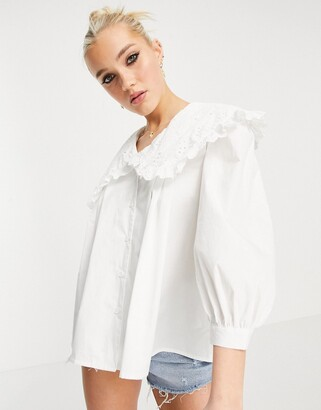 New Look cutwork embroidered collar shirt in white