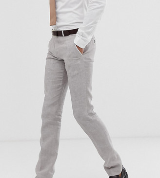 Twisted Tailor tall super skinny linen suit pants in stone