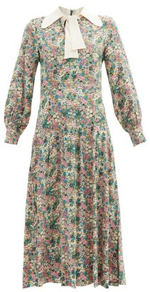 See by Chloe Floral Meadow-print Silk Crepe-de-chine Midi Dress - Green Print