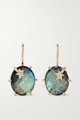 Andrea Fohrman Mini Galaxy 18-karat Rose Gold, Labradorite And Diamond Earrings - one size