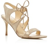 Ivanka Trump Garver Metallic Lace Up High Heel Sandals