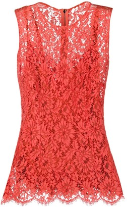Dolce & Gabbana Floral Lace Embroidered Sleeveless Blouse