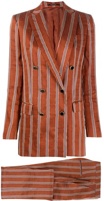 Tagliatore Jasmine double breasted striped noil suit