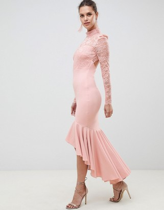 City Goddess Bridesmaid Long Sleeve High Neck Fishtail Maxi Dress With Lace Detail-Pink