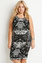 Forever 21 FOREVER 21+ Plus Size Abstract Pattern Sweater Dress