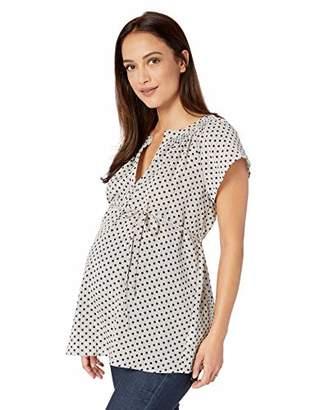 Motherhood Maternity Women's Maternity Split Neck Flutter Sleeve Woven Blouse