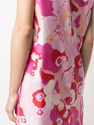 La DoubleJ Floral Shift Mini Silk Dress
