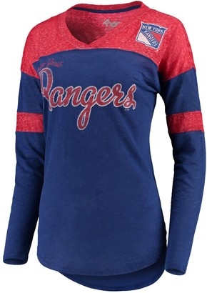 G Iii Women's G-III 4Her by Carl Banks Blue/Red New York Rangers Tri-Blend Redzone Long Sleeve V-Neck T-Shirt