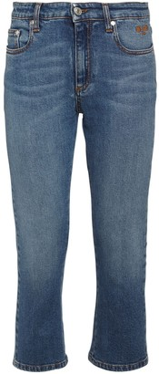 MSGM Crystal Logo Cotton Denim Jeans
