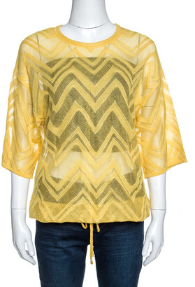 M Missoni Yellow Chevron Knit Drawstring Hem Detail Top M