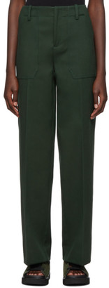 Plan C Green Outside Pocket Straight Trousers