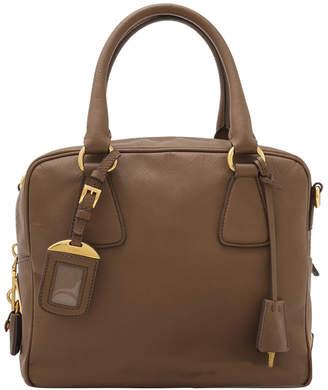 Prada Brown Saffiano Lux Leather Satchel