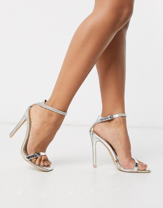 Barely There Be Mine Bridal Lylie silver metallic diamante strap sandals