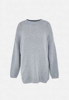 Missguided Size Grey Rib Jumper Dress