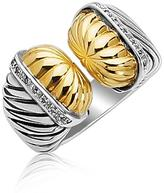 Ice 18K Yellow Gold and Sterling Silver Open Style Cable Ring with Diamonds