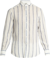Brunello Cucinelli Single-cuff striped linen and silk-blend shirt