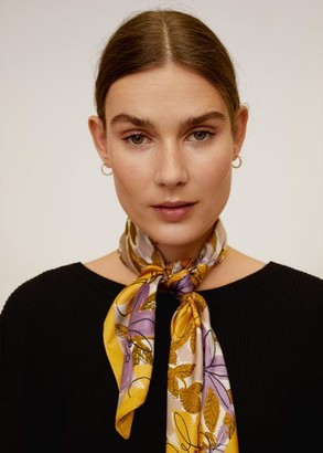 MANGO Floral printed scarf lilac - One size - Women