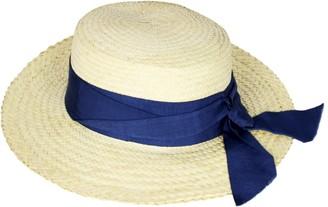Maraina London Gisele Boater Straw Hat With Blue Ribbon