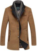 Oncefirst Men's Stand Color Single Breasted Trench Wool Coat 3XL